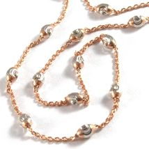 """18K ROSE & WHITE GOLD ROLO ALTERNATE CHAIN NECKLACE 3mm FACETED OVAL BALLS 16"""" image 3"""
