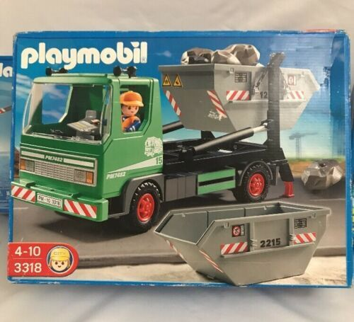 New Playmobil 3318 Skip Lorry Dump Truck Container Rocks - $43.69