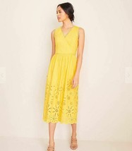 New Ann Taylor Yellow Eyelet Cotton V-neck Sleeveless Lined Fit Flare Dr... - $69.29