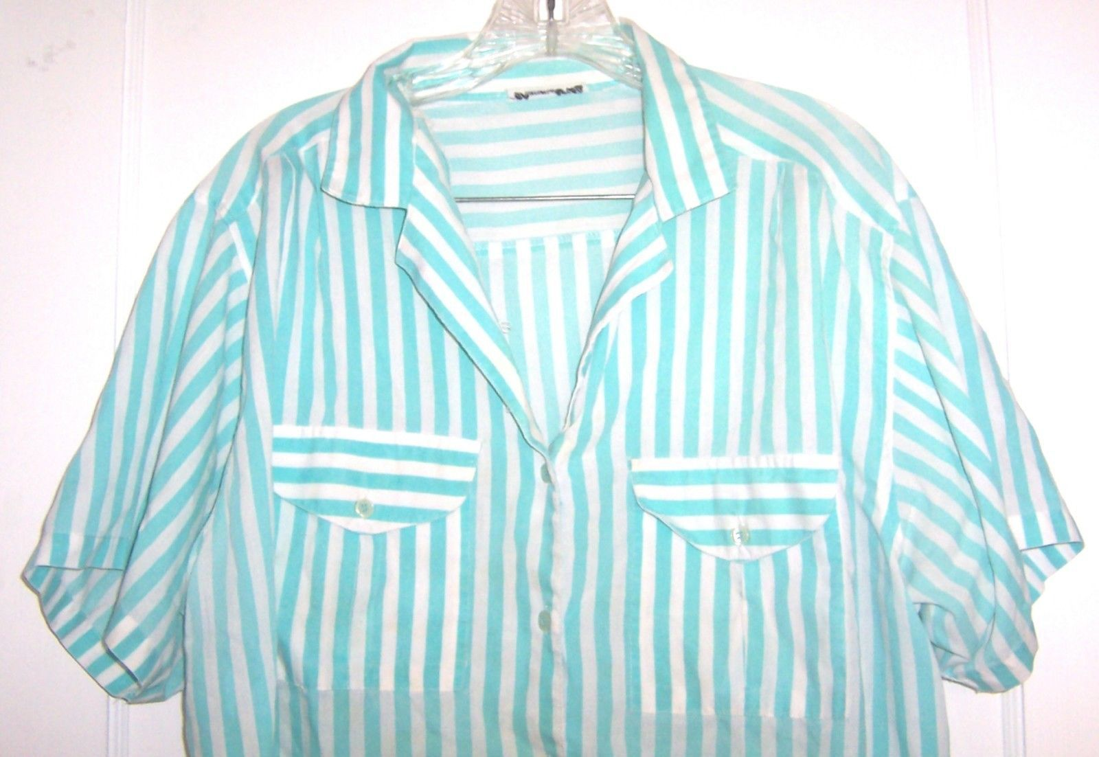 Plus Size 16W - Diamond Hill Aqua Green & White Striped Short Sleeve Blouse