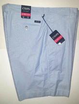 NEW CHAPS Ralph Lauren Flat Front Stretch Shorts Size 40 Ox Blue White Pinstripe - $26.26