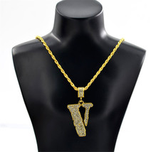 Tide Brand Hip Hop Men Necklace Pendant Fashion Full  V-Shaped Vintage Long Chai - $10.17