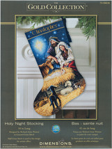 """Dimensions Gold Collection Counted Cross Stitch Kit 16"""" Long-Holy Night Stocking - $41.30"""