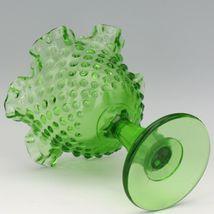 Vintage Fenton Art Glass Springtime Green (1977) Hobnail Footed Comport image 3