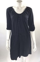 Old Navy Womens Dress Sz Medium Solid Black Tie Waist Tabbed Sleeve Stre... - $223,63 MXN