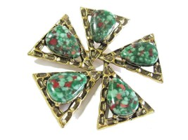 DESIGNER SIGNED EMMONS LARGE FANCY BROOCH PIN PINWHEEL SPECKLED GREEN RED - $22.00