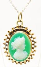 14K Gold Green Genuine Natural Cameo Pendant (#3372) - $448.88