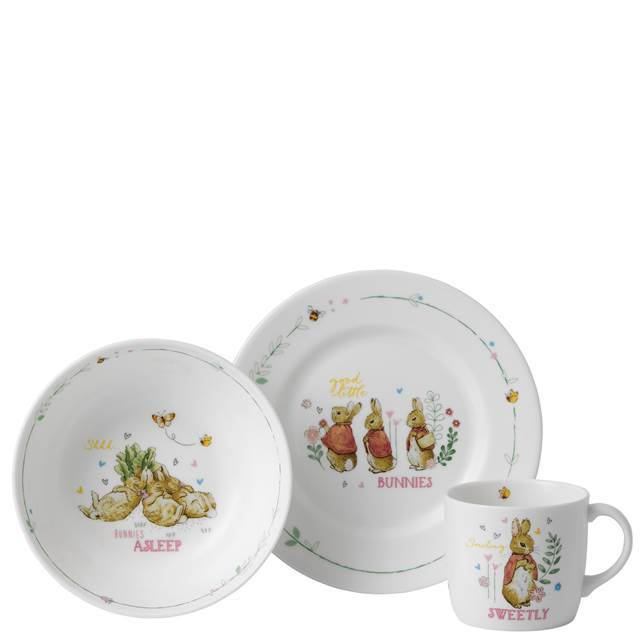 WEDGWOOD Peter Rabbit Bunnie 3PC Nursery Set Plate/Mug/Bowl FINE BONE CHINA NEW. - $100.00