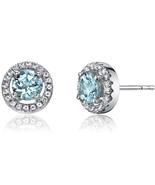 14K White Gold 0.75 Carats Aquamarine Halo Earrings - $255.00
