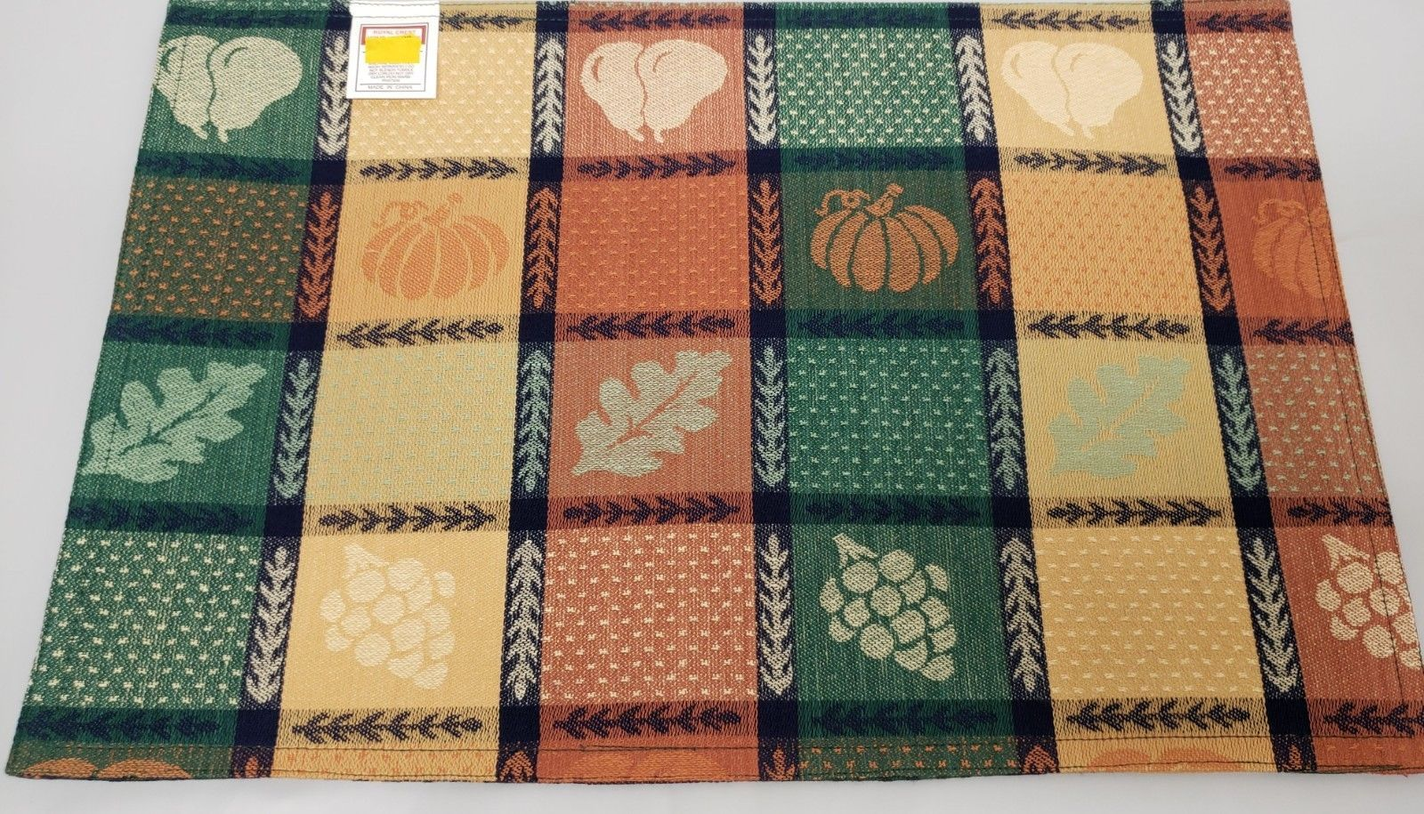 "Primary image for SET OF 4 FABRIC COTTON PLACEMATS 12""x18"", FRUITS & LEAVES IN SQUARES,Royal Crest"