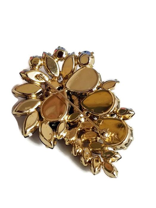 Vintage Molded Glass Rose and Topaz Rhinestone Brooch, Vintage Floral Pin image 9