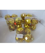 "5 BOXES OF 4 EACH GOLD SEQUINS CHRISTMAS TREE BALL ORNAMENTS NIB 3"" UNBR... - $8.86"