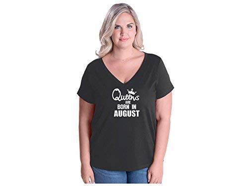 Primary image for Women's Queens are Born in August Plus Size V-Neck T Shirt 22-24 Smoke