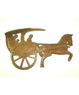 "Vintage Hand Carved Wood Horse & Buggy Silhouette Wall Art Amish 24"" X 15"" - $41.73"