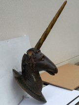 Imposante Unicorn wood sculpture carved Antique 1900 German Black Forest... - $1,200.00