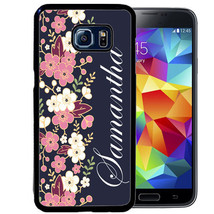 PERSONALIZED RUBBER CASE FOR SAMSUNG S9 S8 S7 S6 S5 PLUS BLUE PINK BLOSSOMS - $13.98