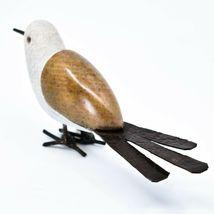 Handmade Serpentine Stone Recycled Metal Ground Seagull Bird Sculpture Zimbabwe image 3