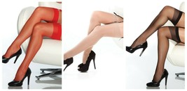 SHEER THIGH HIGH STOCKINGS BLACK RED OR NUDE OS-XL - $11.99