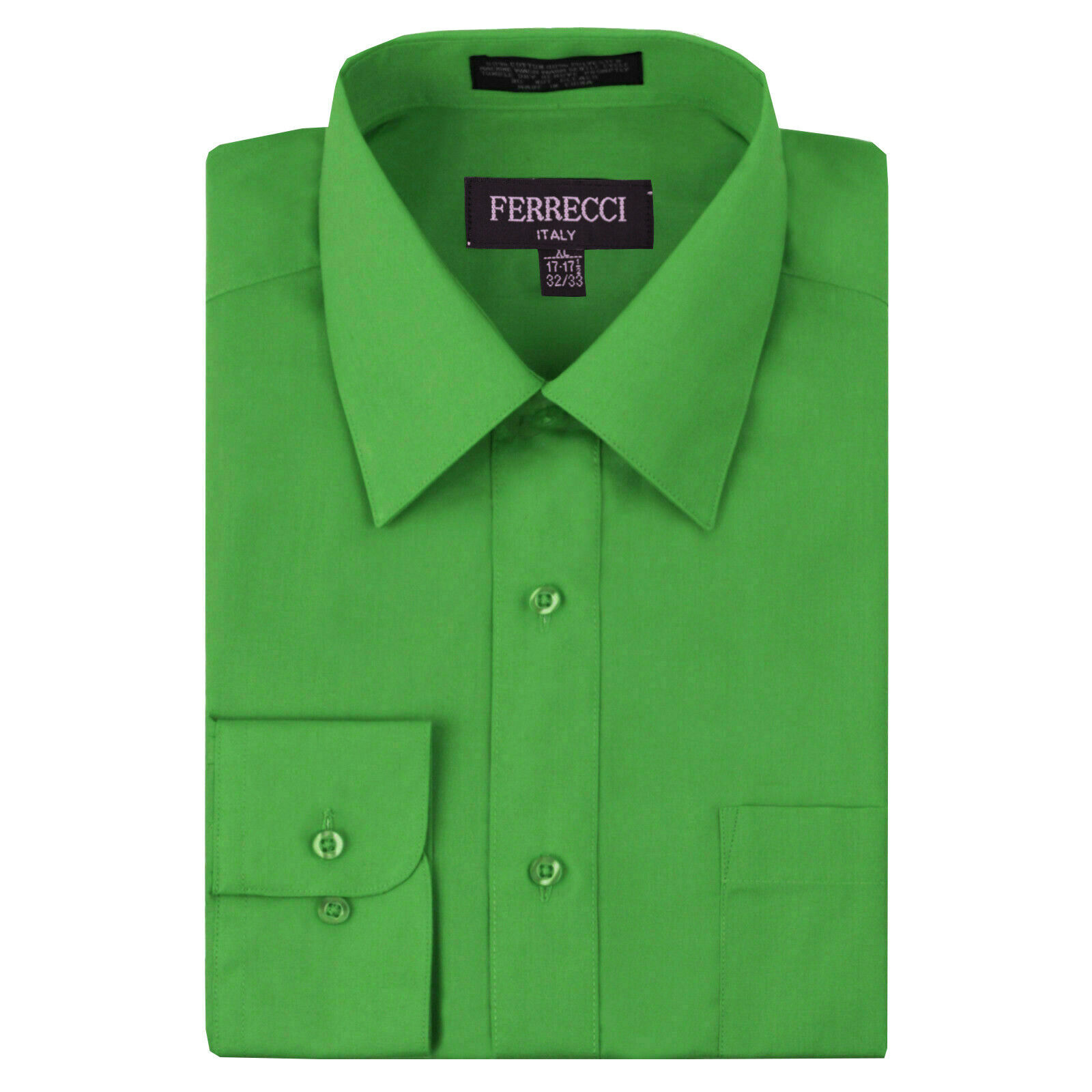 Ferrecci Italy Men's Green Dress Shirt Long Sleeve Slim Fit w/ Defect - XL