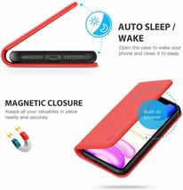 """SHIELDON iPhone 11 (5.8"""") Pro Case with Kickstand, Genuine Leather, Red image 4"""