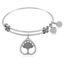 Expandable Bangle in White Tone Brass with Tree... - $24.19