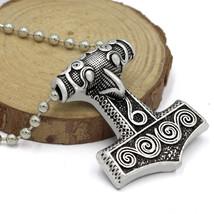 Thor's Hammer Mjolnir Pendant Necklace Skane Replica Norse Nordic Zinc A... - $9.99