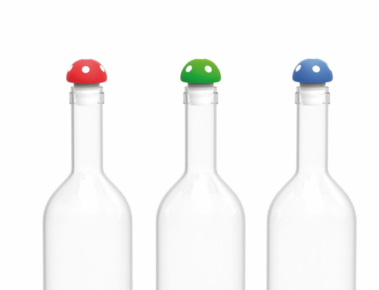 wine bottle stoppers, Whimsical Toadstool novelty reusable wine bottle stopper