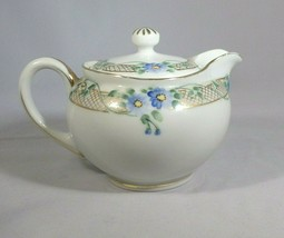 """Nippon Pitcher Hand Painted Porcelain Creamer Covered Gold Net Blue Flowers 3.5"""" - $7.00"""