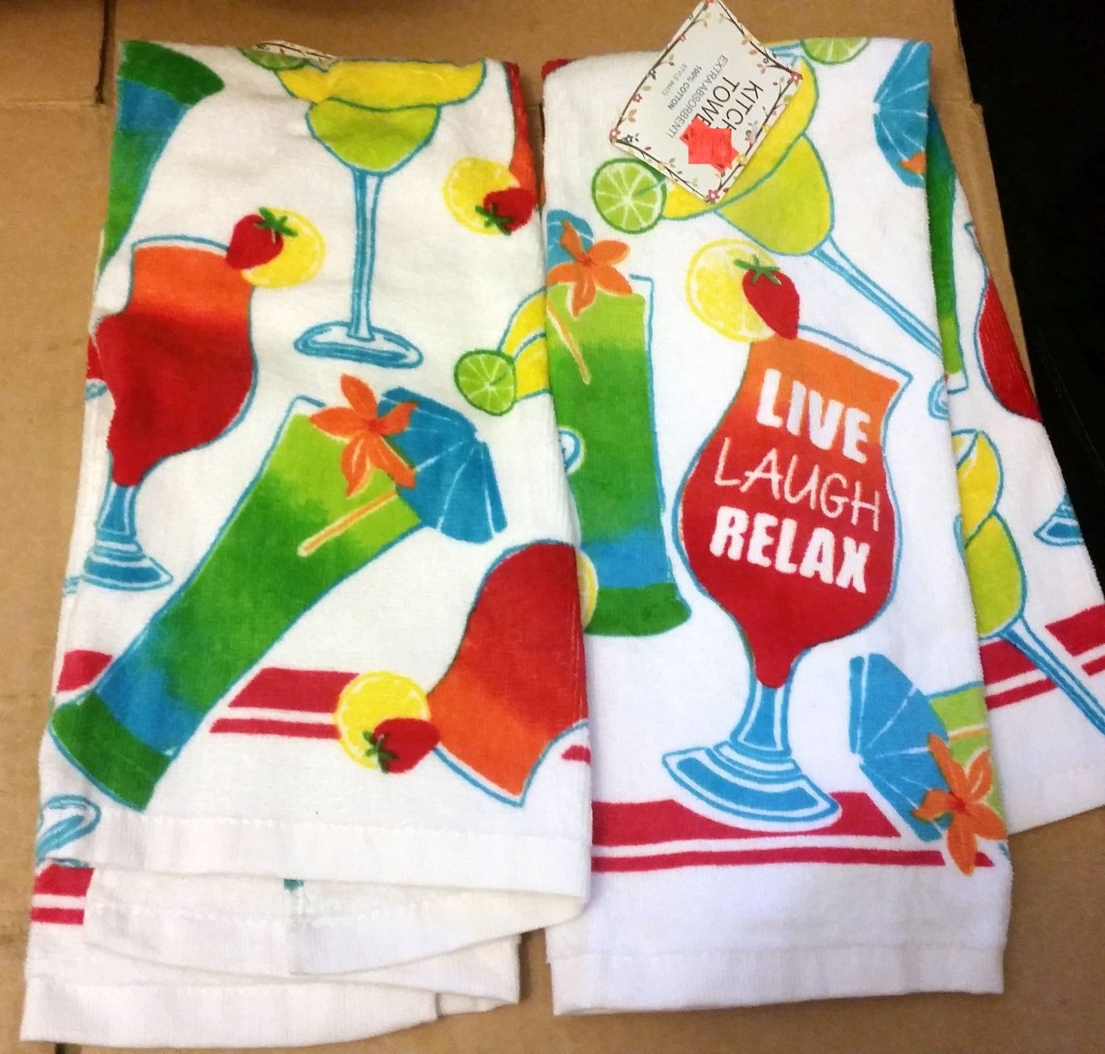 "2 SAME PRINTED TOWELS (15"" x 25"") COCKTAILS, LIVE LAUGH RELAX by AM - $10.88"