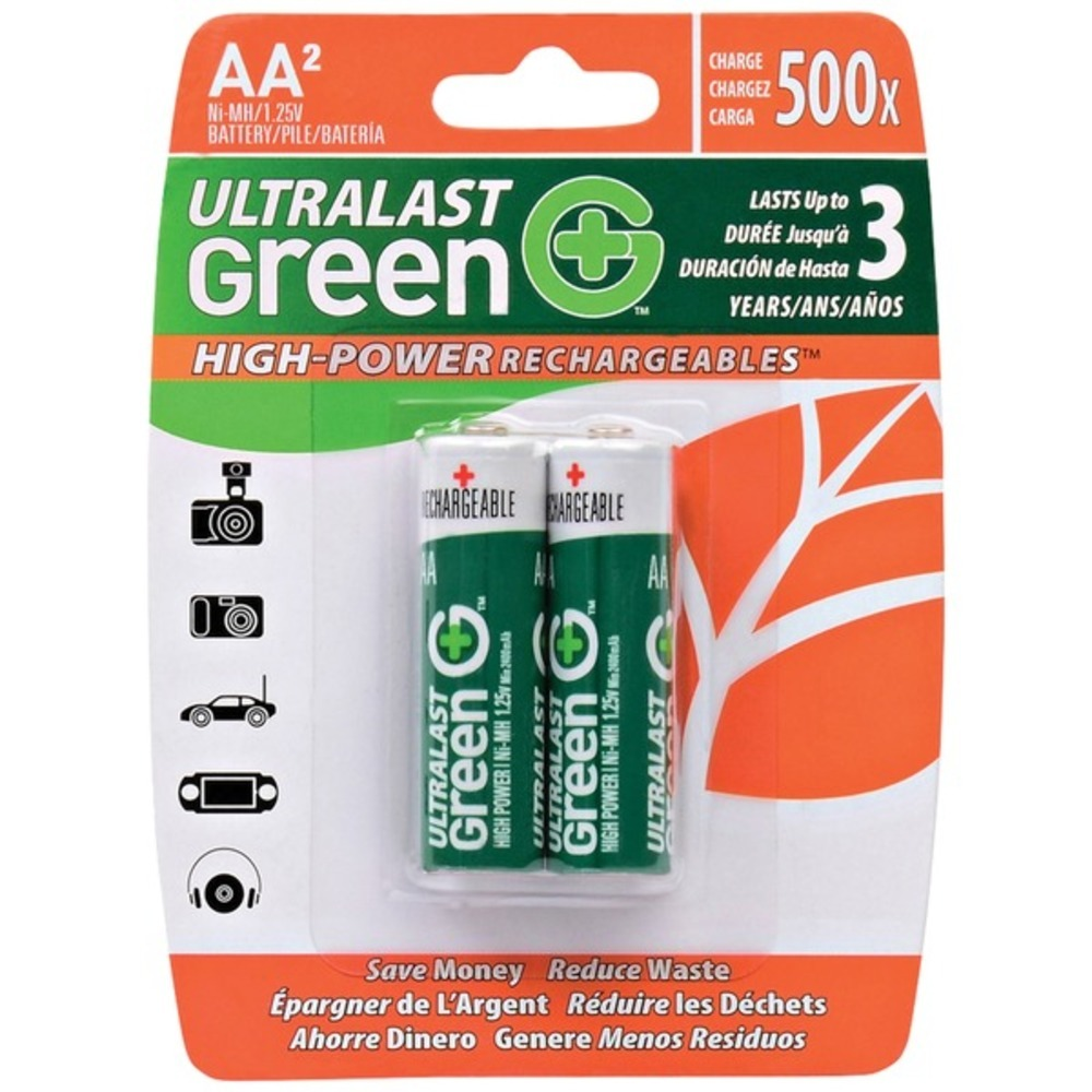 Ultralast ULGHP2AA Green High-Power Rechargeables AA NiMH Batteries, 2 pk