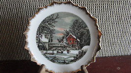 CURRIER&IVES,THE FARMER'S HOME WINTER GOLD RIM PLATE - $19.00