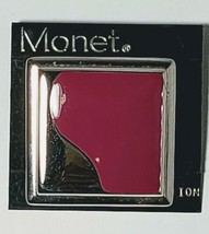 VTG ABSTRACT MONET BROOCH PIN 1980s SILVER TONE & PURPLE MONET MODERNIST - $5.69
