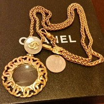 Authentique Chanel Plaqué or cc Logos Charme Vintage Chaîne Pendentif CN0083 - $907.87