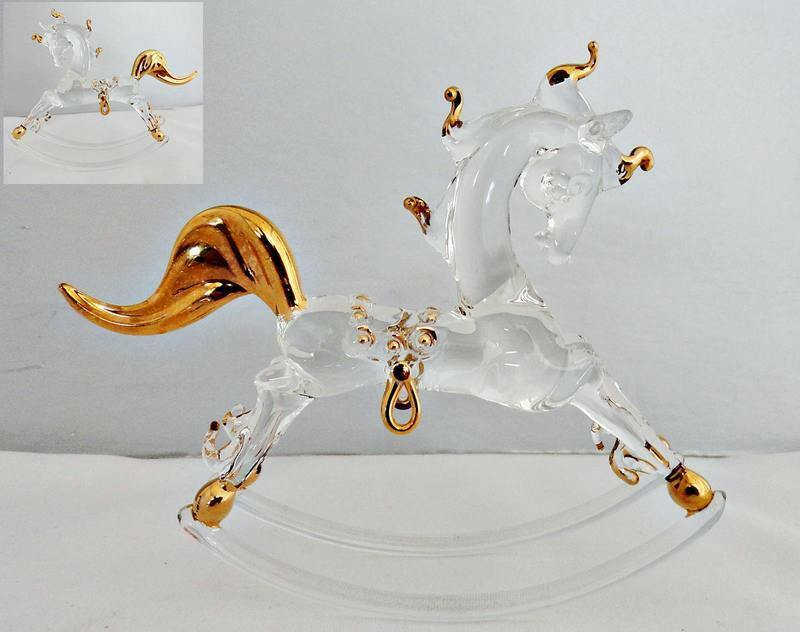 Primary image for Handblown Glass Rocking Horse with Gold Accents