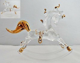 Handblown Glass Rocking Horse with Gold Accents - $8.90