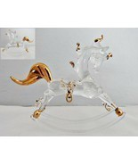 Handblown Glass Rocking Horse with Gold Accents - £6.57 GBP