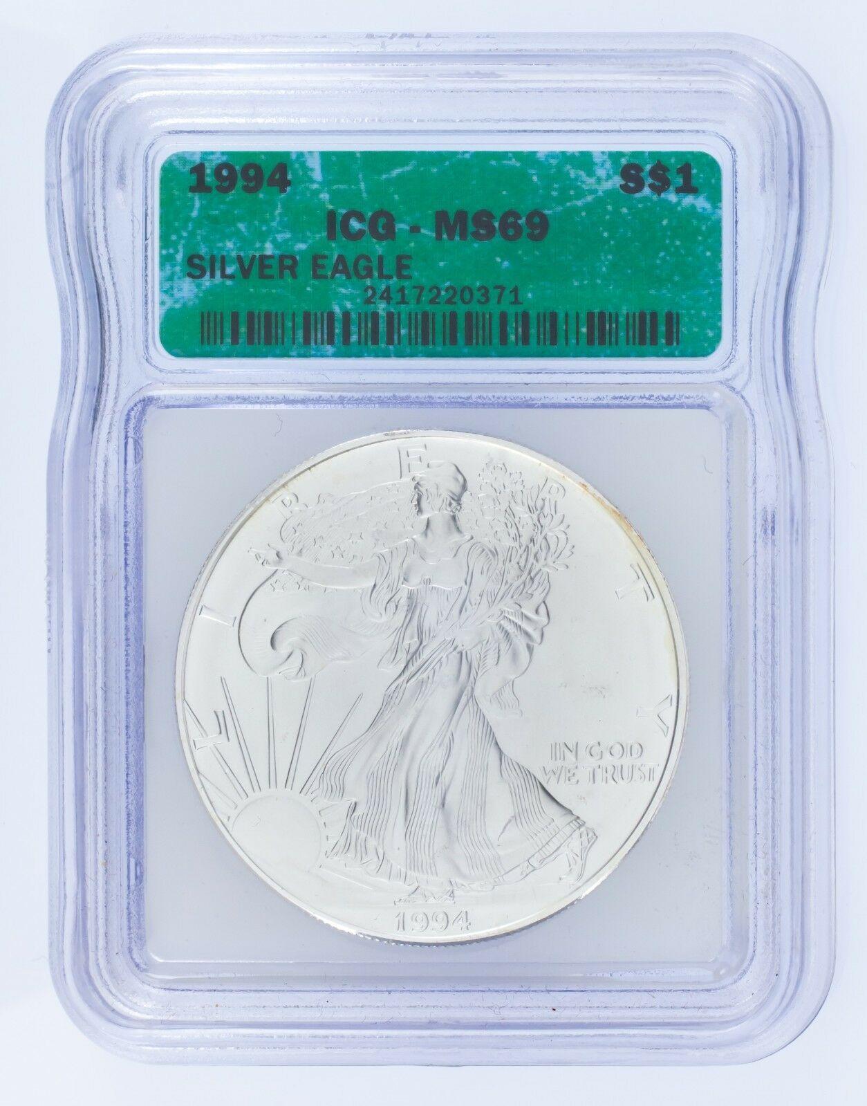1994 Silber American Eagle Ausgewählten von ICG As MS69 ! Atemberaubend Adler