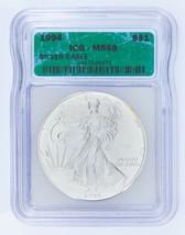 1994 Silber American Eagle Ausgewählten von ICG As MS69 ! Atemberaubend Adler image 1