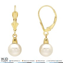 14k Solid Yellow Gold Freshwater Pearl Dangle Leverback Earrings 7mm - $79.99