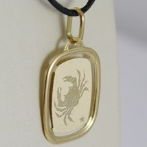 SOLID 18K YELLOW GOLD CANCER ZODIAC SIGN MEDAL PENDANT, ZODIACAL, MADE IN ITALY image 2