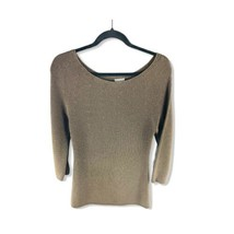 ANN TAYLOR Women's Textured Knit Sweater Size Small 3/4 Sleeves Brown - $16.82