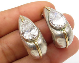 14K Gold & 925 Silver Vintage Tear Drop Cubic Zirconia Post Hoop Earring... - $59.19