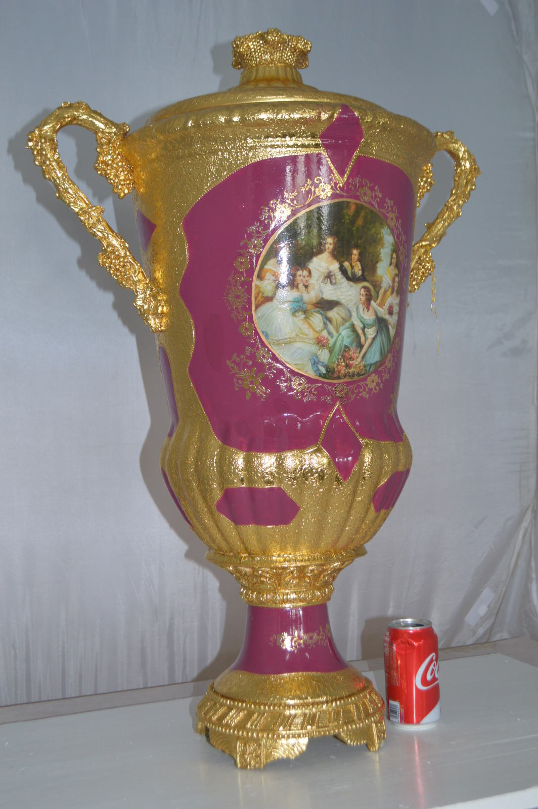 "Decoration Vase with cover gold and pink -  Size: 23""L x 16""W x 33""H."