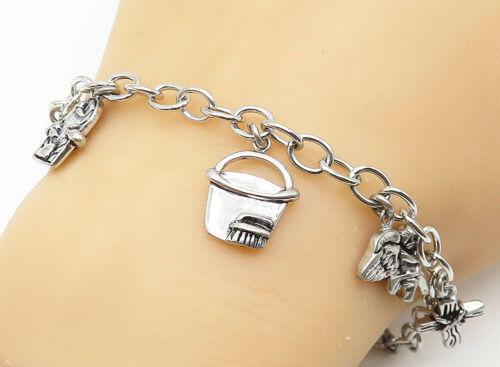 DJB 925 Sterling Silver - Vintage Shiny Assorted Charm Chain Bracelet - B5225