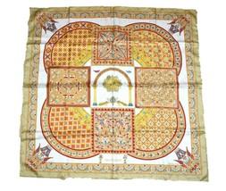 Hermes Scarf Ciels Byzantins Silk 90 cm Beige Yellow Carre Shawl Stole - $226.71