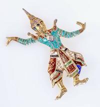 Gorgeous Sterling Silver Large Enamel Siam Dancer Brooch - $62.85