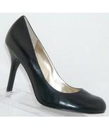 Jessica Simpson 'Henri' black leather patent round toe slip on heels 9.5... - $36.05