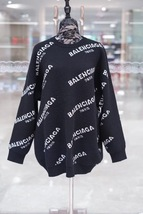 100% AUTHENTIC JACQUERED KNIT BALENCIAGA PARIS BLACK LOGO SWEATER SZ 40
