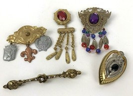 Lot Of 5 Vintage Brooches 80s 90s Retro theme Metal Plastic Hippy Boho d... - $23.71