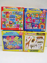 4 Kids Puzzlebug Learning Puzzles 24 Pieces Each ABC's Numbers Colors & ... - $9.48
